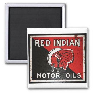 La muestra india roja del aceite de motor aherrumb imán cuadrado