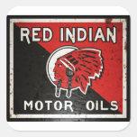 La muestra india roja del aceite de motor aherrumb pegatinas cuadradas