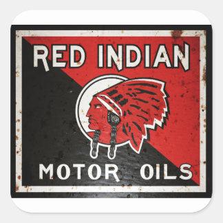 La muestra india roja del aceite de motor pegatina cuadrada