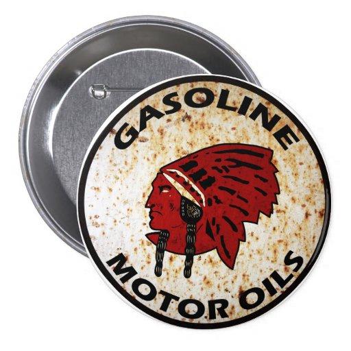 La muestra india roja del vintage de la gasolina a pins