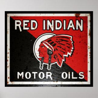 La muestra india roja del vintage del aceite de mo poster