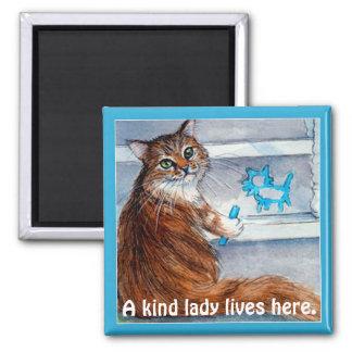 La muestra linda del hobo del gato, señora buena imán cuadrado