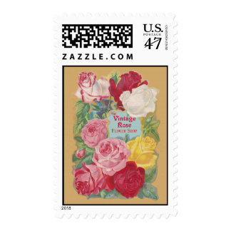 La muestra subió vintage de la floristería timbre postal