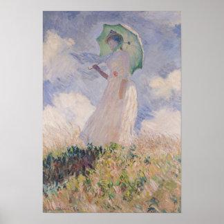 La mujer con el parasol dio vuelta a la izquierda, póster