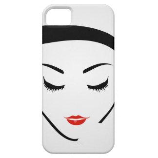 la mujer con el peinado del vintage y compone funda para iPhone SE/5/5s