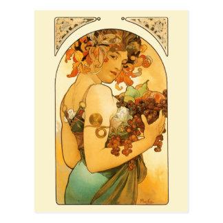 La mujer con la fruta por Mucha Postal