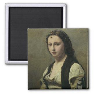 La mujer con la perla, c.1842 imán cuadrado