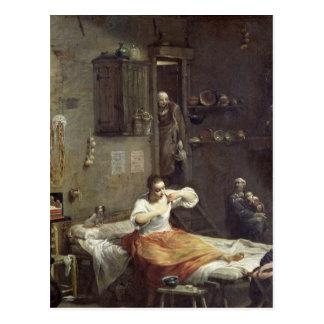La mujer con la pulga tarjeta postal