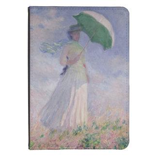 La mujer con un parasol dio vuelta a la derecha, 1 funda para kindle touch