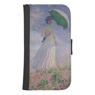 La mujer con un parasol dio vuelta a la derecha, funda tipo billetera para galaxy s4