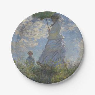 La mujer de Claude Monet con un parasol Platos De Papel