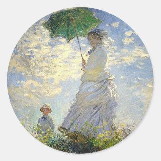 La mujer de Monet con un parasol (el paseo/el Etiquetas Redondas