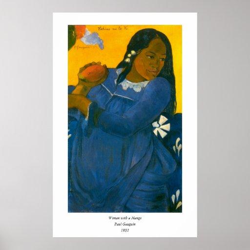 La mujer de Paul Gauguin con un mango (1892) Póster