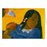 La mujer de Paul Gauguin con un mango (1892) Tarjetón