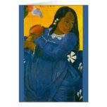 La mujer de Paul Gauguin con un mango (1892) Felicitación