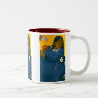La mujer de Paul Gauguin con un mango (1892) Tazas De Café