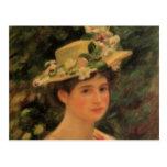 La mujer de Renoir que lleva un gorra con los rosa Tarjeta Postal