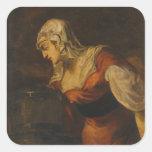 La mujer de Samaria en bien, c.1560 (aceite en c Pegatina Cuadradas Personalizadas