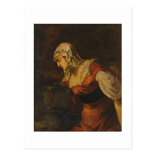 La mujer de Samaria en bien, c.1560 (aceite en c Postal