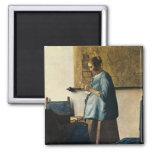 La mujer de Vermeer en azul que lee una letra ca.1 Iman De Frigorífico