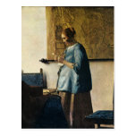 La mujer de Vermeer en azul que lee una letra ca.1 Tarjetas Postales