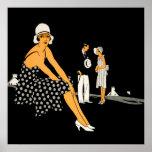 La mujer del art déco calza negro del lunar impresiones