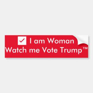 la mujer del ✔️I… me mira votar Trump™ Pegatina Para Auto