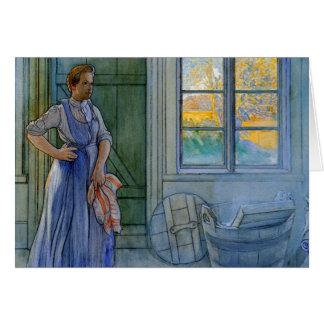La mujer del lavadero que mira el lavadero tarjeta de felicitación