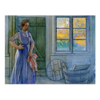 La mujer del lavadero que mira el lavadero postal