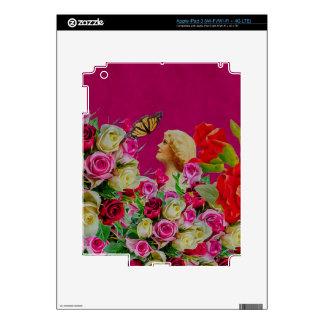 La mujer del vintage florece la mariposa pegatinas skins para iPad 3