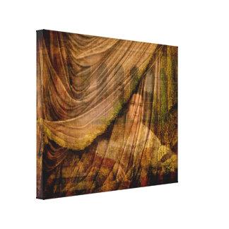 La mujer detrás de la cortina impresión en lienzo estirada
