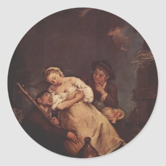 La mujer durmiente de Pietro Longhi Pegatinas Redondas