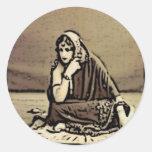 La mujer espiritual etiqueta redonda