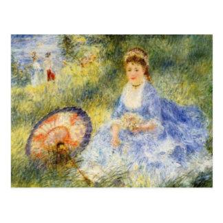 La mujer joven de Renoir con un paraguas japonés Postales