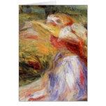 La mujer joven de Renoir en un gorra de paja Felicitacion