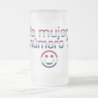 La Mujer Número 1 in American Flag Colors 16 Oz Frosted Glass Beer Mug