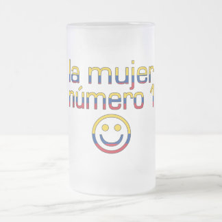 La Mujer Número 1 - Number 1 Wife in Colombian 16 Oz Frosted Glass Beer Mug