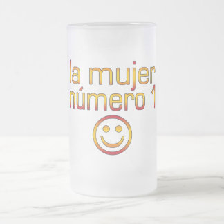 La Mujer Número 1 - Number 1 Wife in Spanish 16 Oz Frosted Glass Beer Mug