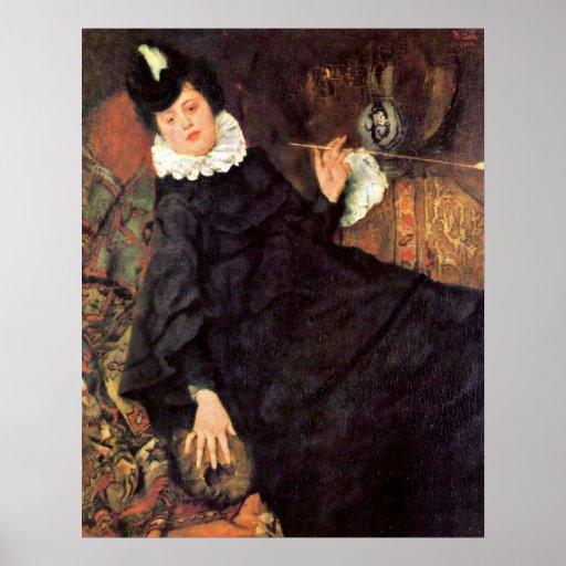 La mujer parisiense joven de Wilhelm Leibl Póster