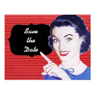 la mujer punteaguda de los años 50 ahorra la fecha tarjeta postal