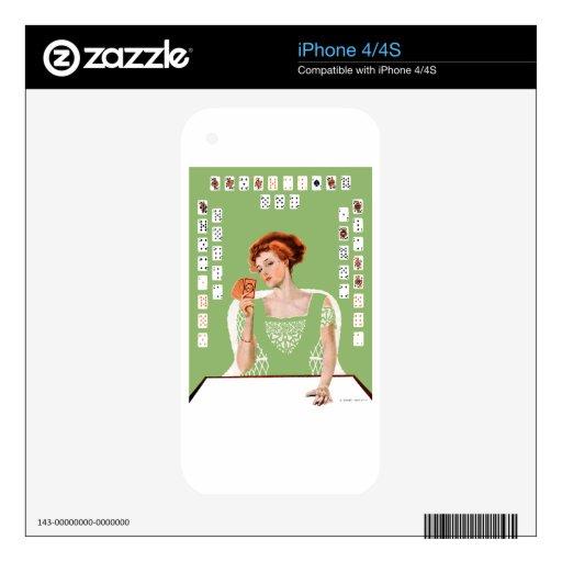 La mujer se considera afortunado tenía en el puent skins para iPhone 4