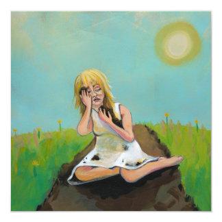 La mujer triste encuentra comodidad en suciedad de invitación 13,3 cm x 13,3cm
