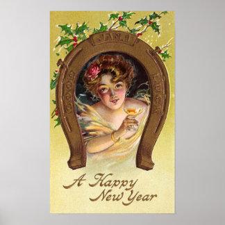La mujer tuesta el Año Nuevo Impresiones