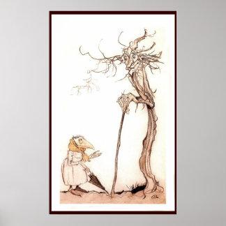 La mujer y el árbol - poster del pájaro