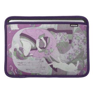 La mujer y el gato japoneses rosados remezclan de funda macbook air