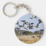 La multitud de aves acuáticas vuela de humedal en  llavero