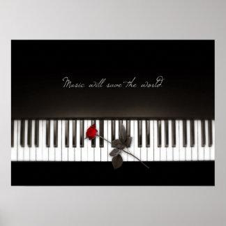 La música ahorrará el mundo - poster color de rosa