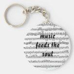 La música alimenta el alma llaveros personalizados