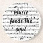 La música alimenta el alma posavasos cerveza