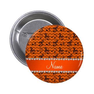 La música anaranjada conocida personalizada pin redondo de 2 pulgadas